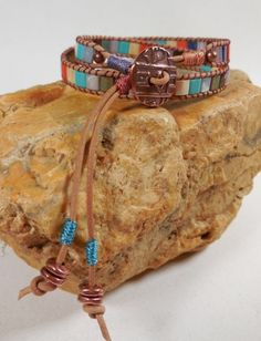 Mosaic Leather Wrap Bracelet by Red Dirt Diva