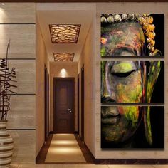 Buddha Statues Triple Frameless Canvas Print Oil Painting Wall Art Home Decor Be