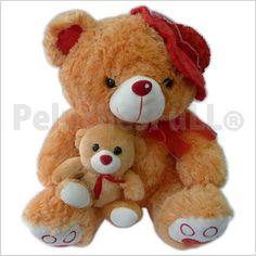 Código: TSP4781 Peluche Oso con capellina y bebe, detalles en su patitas bordados