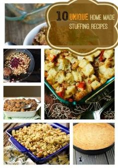 10 Unique Homemade Turkey Stuffing Recipes to try out this year! No more boxed stuffing- try out these recipes for this years Turkey!
