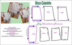 Blusa Ciganinha  Aula de modelagem e corte e costura no blog Claudineia Antunes http://claudineiaantunes.com.br/category/blog/
