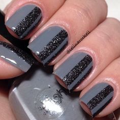 Admiring Gray Striped Nail Designs Ideas For Winter 2019 - For the past couple of seasons, gray continues to be a popular color for manicures and pedicures. Gray nail art is no different. You can create a wide. Gray Nails, Love Nails, Pink Nails, How To Do Nails, Sparkle Nails, Black Nails, Nail Art Stripes, Striped Nails, Black Stripes