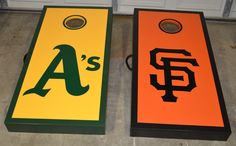 Oakland A's and SF Giants combo. www.CAcornhole.com