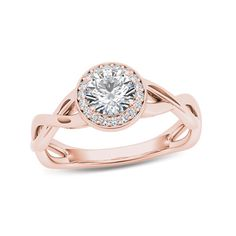 Zales: 1/2 CT. T.W. Diamond Frame Twist Shank Engagement Ring in 14K Rose Gold
