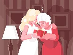Blonde woman giving present to her middle-aged mother. Warm picture of family together flat style vector illustration. Parents day and affection concept. Living room on background Illustration , Family Vector, Colour Field, Blonde Women, Photoshop Effects, Giving, Gradient Color, Card Templates, Art Direction, Aurora Sleeping Beauty