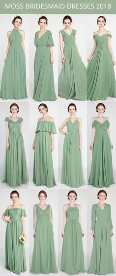 moss green bridesmaid dresses for 2018 trends #bridalparty #bridesmaiddress #weddingcolors #greenerywedding