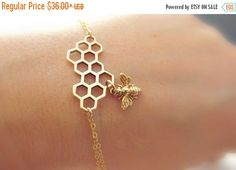 Bee bracelet gold fill HUGE SALE Italian bronze honey comb bracelet bee jewelry…
