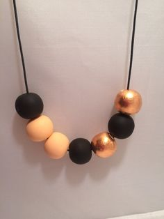 Peach Black & Copper Polymer Clay Necklace by CKWJewellery on Etsy
