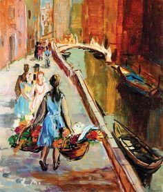 Ligia Macovei - Flower Sellers in Venice - 1958 Film France, Dappled Light, Art Database, Ways Of Seeing, Henri Matisse, City Art, Figure Painting, Vintage Postcards, Flower Art