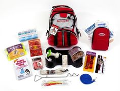 Guardian Dog Survival Kit   This Dog Survival Kit is packaged in our red Backpack with the words Survival Kit on it and has been designed to provide your pet with all of the necessary items to survive if you are ever forced to evacuate.  By owning this survival kit, you will have peace of mind knowing that your dog will be safe and comfortable in any type of disaster. $54.99
