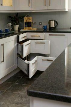 Corner drawer idea, a lil odd looking open but closed looks good