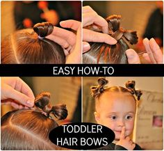 Toddler Hair Bows by Simply Sadie Jane - do you think my kid would sit long enough to let me do this? Nah, me either. if she ever grows hair Baby Girl Hairstyles, Princess Hairstyles, Cute Hairstyles, Natural Hairstyles, Easy Toddler Hairstyles, Girl Haircuts, Hairdos, Toddler Hair Bows, Toddler Outfits