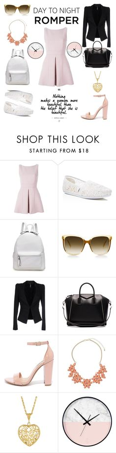 """#2"" by adriastar ❤ liked on Polyvore featuring Alexander McQueen, TOMS, Liviana Conti, Givenchy, Steve Madden, Dorothy Perkins, DayToNight and romper"