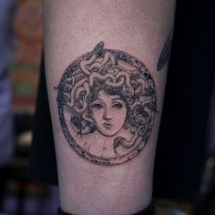 medusa tattoo idea on the leg