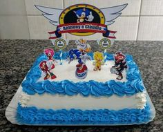 bolo do sonic simples Bolo Sonic, Sonic Cake, 5th Birthday, Birthday Cake, Birthday Ideas, Sonic The Hedgehog, Sweets, Simple, Desserts