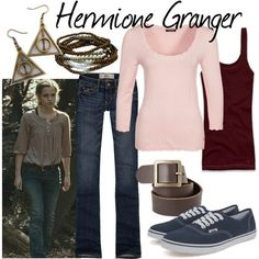 Character: Hermione Granger Fandom: Harry Potter Film: Deathly Hallows Part Harry Potter Mode, Bijoux Harry Potter, Harry Potter Style, Harry Potter Outfits, Harry Potter Characters, Harry Potter Film, Character Inspired Outfits, Disney Inspired Outfits, Themed Outfits