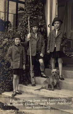 LtoR: Princess Elisabeth, Prince Jean (later Grand Duke), and Princess Marie Adelaide of Luxembourg. Children of Grand Duchess Charlotte and Prince Felix