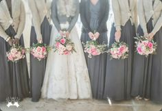pink bouquets with dark grey bridesmaid dresses and cardigans...darn it, too bad I'm getting married on August! I love this.