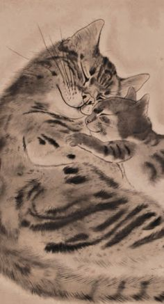 "Léonard Tsuguharu Foujita (1886 -1968) - ""Cat with kitten"" (détail), 1929"