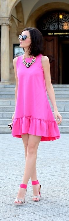 Pretty Summer Pink Dress ♔Life, likes and style of Creole-Belle ♥ Pink Fashion, Love Fashion, Fashion Dresses, Womens Fashion, Net Fashion, Fashion Details, Street Fashion, Fashion Trends, Cute Dresses