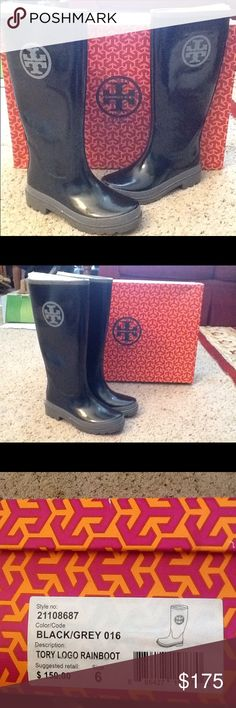 TORY BURCH LOGO BLACK RUBBER RAINBOOTS sz 6, NIB NIB Tory BURCH sz 6 black rubber rain boots with gray logo.  New In Box.  Great gift!  Will ship right away.  Check out my other designer items Tory Burch Shoes Winter & Rain Boots