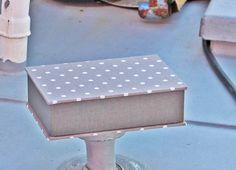 Box, business card  box, card box, box, box pins, fabric-related box, desk box,box hair clips,   box taupe with polka dots