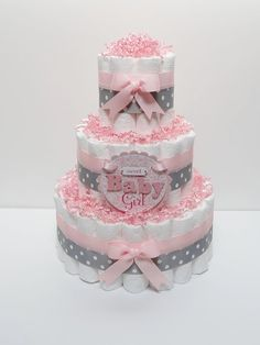 3 Tier Baby Girl Pink And Gray Diaper Cake Baby Shower Centerpiece Baby Girl Pink And Gray Diaper Cake Baby By Lanasdiapercakeshop 49 99 Diy Diaper Cake, Mini Diaper Cakes, Nappy Cakes, Baby Shower Diapers, Baby Shower Cakes, Baby Shower Themes, Baby Shower Gifts, Diaper Shower, Shower Ideas