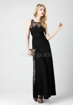 Square Illusion Back A line Lace & Chiffon Evening Gowns - Voguequeen.com