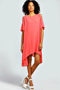 Oprah Open Shoulder Chiffon Smock Dress at boohoo.com