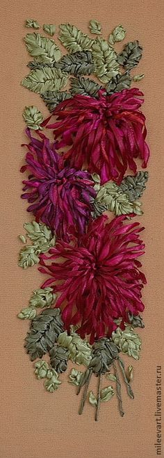 Crisantemos. Chrysanthemums #ribbonEmbroidery