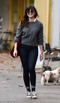 Go hard or go home: Daisy Lowe, 26, looked very happy as she made her way to the gym in Pr...