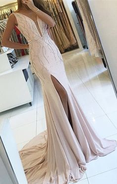 Pink Sleeveless Side slit V-neck Mermaid Prom Dress