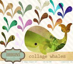Collage balena Clipart clipart balena di di OriginsDigitalCurio