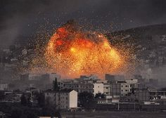 what a beautiful, terrible picture. The Syrian city of Kobane being attacked by ISIS. May the world know peace, soon.