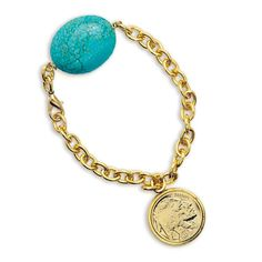 American Coin Treasures -Layered Buffalo Nickel Bracelet with Turquoise Stone