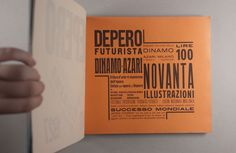 Depero Futurista by Fortunato Depero, 1927, is one of the most important exemplars of the Italian Futurtist Movement and, apart from the manifestoes of F. T. Marinetti, one of the centerpieces of 20th-century avant-garde typography. This anthology of Futurist creation, spanning 1913 to 1927, is a manifesto of the machine age with an industrial bolted binding