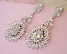 1920s Gatsby Vintage Style CZ Crystal Bridal Earrings