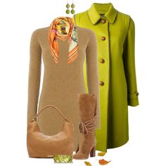 """""""* Chartreuse Fall Coat *"""" by hrfost1210 on Polyvore"""