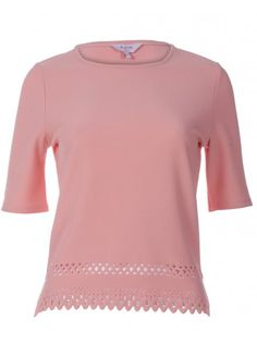 Womens Pink Lazer Cutout T-Shirt