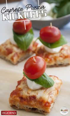 Who has time for complicated game day appetizers? Keep things easy so you can get back to cheering for your team as quickly as possible! While your favorite DiGiorno pizza bakes in the oven, prep tiny skewers of mozzarella cheese, fresh basil, and cherry tomatoes. Chop the hot pizza into squares, top each square with a skewer, and serve these simple Caprese Pizza Kickoffs to the hungry team in your living room. | Balance Your Plate | #gameday #gamedayfood #gamedayrecipes #BalanceYourPlate Pizza Sides, Caprese Pizza, Game Day Appetizers, Pizza Bake, Xmas Food, Game Day Food, Fresh Basil, Party Snacks, Skewers