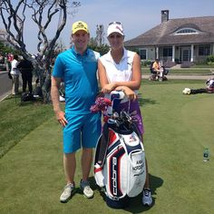 Anna Nordqvist and her caddie/little bro Matias getting ready for a practice round at Sebonack #USOpen