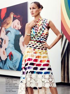 Colorful printed crepe dress by Chanel- Sarah Jessica Parker in Instyle mag Feb 2014