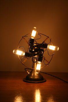 Industrial Steampunk Desk Lamp  Fan Light  by IndustrialRewind,