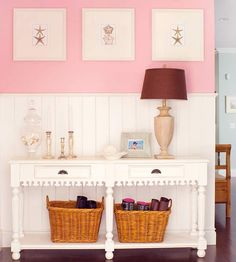 9 Nurturing Clever Tips: Tall Wainscoting Decor wainscoting wallpaper cabinets.Wainscoting Hallway Kitchens wainscoting how to diy network.Wainscoting How To Diy Network. Wainscoting Bedroom, Dining Room Wainscoting, Wainscoting Hallway, Wainscoting Panels, Wainscoting Ideas, Zen, Pink Color Schemes, Pink Walls, Finding A House