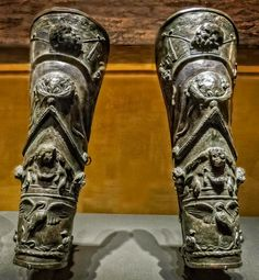 Pair of bronze gladiator shin guards from the Gladiators' Barracks in Pompeii. These elaborately decorated shin guards depict a procession in a celebration of Bacchus : ArtefactPorn Roman Armor, Arm Armor, Gladiator Armor, Roman Gladiators, Rome History, Nemean Lion, Marshal Arts, Rome Antique, 1st Century