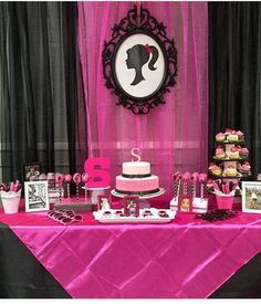 Retro Barbie birthday party dessert table! See more party ideas at CatchMyParty.com!