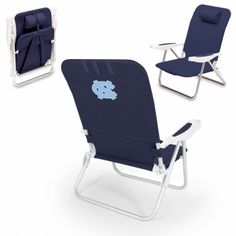 "North Carolina Tar Heels Beach Chair - Monaco by Picnic Time. Short Description: The Monaco Beach Chair is the lightweight, portable chair that provides comfortable seating on the go. It features a 34"" reclining seat back with a 19.5"" seat, and sits 11"" off the ground. Made of durable polyester on an aluminum frame, the Monaco Beach Chair features six chair back positions and an integrated cup holder in the armrest. Convenient backpack straps free your hands so you can carry other items to…"
