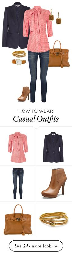 """Casual with a twist"" by mara-wink on Polyvore featuring Hermès, Rosegold, STELLA McCARTNEY, Current/Elliott, Tommy Hilfiger, Diane Von Furstenberg, Vince Camuto and Roots"