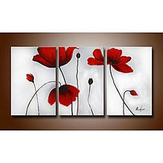 Ode-Rin - Hand Painted Oil Painting on Canvas Red Blooming Flowers Framed and Stretched 3 Pieces Lonely Floral Wall Art Painting for Living Room Home Decor, Ready to Hang - x 3 Panels) Oil Painting Gallery, Oil Paintings, Floral Paintings, Painting Flowers, Flower Artwork, Oil On Canvas, Canvas Art, Canvas Ideas, 3 Canvas Painting Ideas