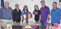Morgan Mills bound for Hardin-Simmons -- Morgan Mills signs her letter of intent to play volleyball and attend school at Hardin-Simmons University in Abilene. She is joined by (from left) Superintendent Tom Harvey, Coach Kyle Andrews, Coach Theresa Reyes, mother, Jenean; father, Glen; and Coach Richard Hinojosa.